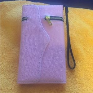 Pink phone case/wallet with strap